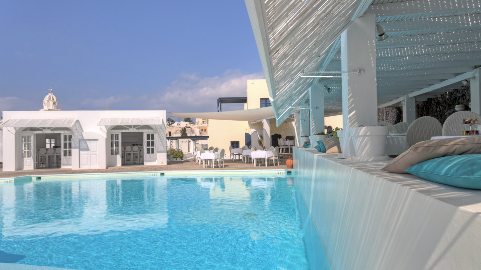Pergola Pool Restaurant  Bar at Vedema a Luxury Collection Resort Santorini Greece